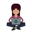 woman in laptop vector image vector image