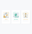 work process - line design style banners set vector image