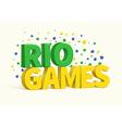 rio 3d realistic text eps 10 vector image