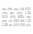 set of sketch different transparent cars buses and vector image