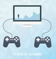 Video game on desktop with two joysticks in flat vector image