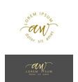 a w initials monogram logo design dry brush vector image vector image