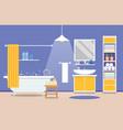 bathroom modern interior - a bathtub with a vector image vector image