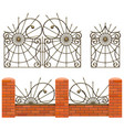 brick fence with wrought iron gates vector image