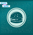 burger sandwich hamburger icon on a green vector image