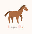cartoon brown horse h is for horse cartoon vector image