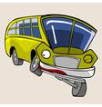 cartoon character yellow bus fun winks vector image vector image