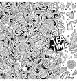 Cartoon hand-drawn doodles of cafe coffee shop vector image vector image