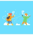 Cheerful Kids Throwing Snowballs vector image