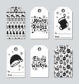 christmas and new year gift tags cards xmas set vector image