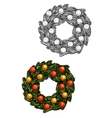 Christmas fir wreath with balls sketch vector image vector image