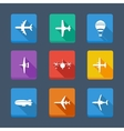 collection airplane and gray Set icons vector image vector image