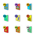 computer file icons set cartoon style vector image vector image
