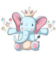 cute funny elephant character vector image