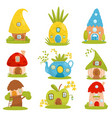 cute small houses set fairytale fantasy house for vector image