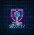 cyber security glowing neon sign internet vector image vector image