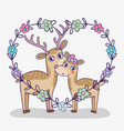 deer couple with heart shape and flowers vector image vector image