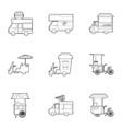 different food truck icons set outline style vector image vector image