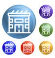 eco solar house icons set vector image