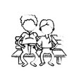 figure old couple in the chair with hairstyle vector image vector image