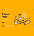 fitness app training isometric landing page banner vector image vector image