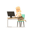 girl sitting at computer pupil of elementary vector image vector image