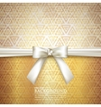 golden background with white bow vector image vector image