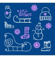 hand drawing Winter holiday Set vector image