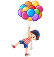 happy boy and many balloons vector image vector image
