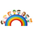 happy children on colorful rainbow vector image vector image