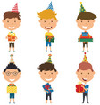 happy cute boys carrying colorful wrapped gift vector image vector image