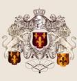 heraldic shield with lions and fleur de lis vector image vector image