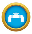 industrial pipe valve icon blue isolated vector image