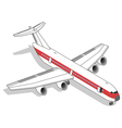 Isometric white airplane with red stripe vector image vector image