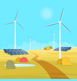 landscape with wind tribune and solar battery vector image