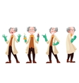 Mad professor in lab coat and green rubber gloves vector image vector image