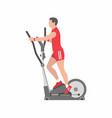 man running on elliptical machine vector image