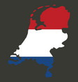 map of netherlands with flag isolated white vector image vector image