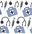 medical syringe stethoscope and kit first aid vector image