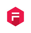 modern letter f flat icon design vector image