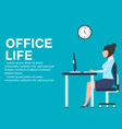 office life banner with business woman at table vector image