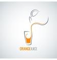 orange juice glass bottle background vector image vector image