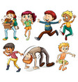 People doing different actions vector image vector image