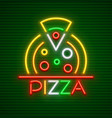 pizza neon sign vector image vector image