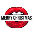 red lips with merry christmas sign cool vector image vector image
