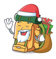 santa with gift backpack mascot cartoon style vector image