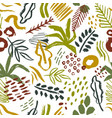 seamless pattern with abstract tropical leaves vector image