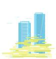 skyscrapers in smog vector image