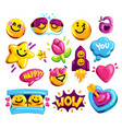 smiley face love and friends stickers set vector image vector image