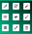 stationery icons colored line set with brush to vector image vector image